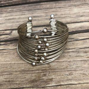 Vintage gold 14 strand boho bangle cuff bracelet